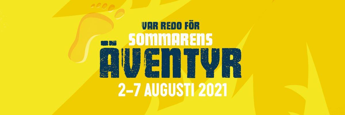 """Text på gul bakgrund med djungel-blad: """"Var redo för sommarens äventyr: 2-7 augusti 2021"""